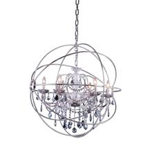 Geneva 6 light Polished nickel Chandelier Silver Shade (Grey) Royal Cut crystal