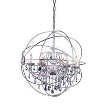 See Details - Geneva 6 light Polished nickel Chandelier Silver Shade (Grey) Royal Cut crystal