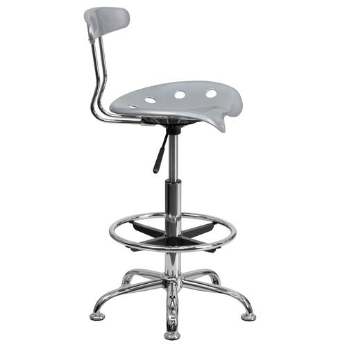 Flash Furniture - Vibrant Silver and Chrome Drafting Stool with Tractor Seat