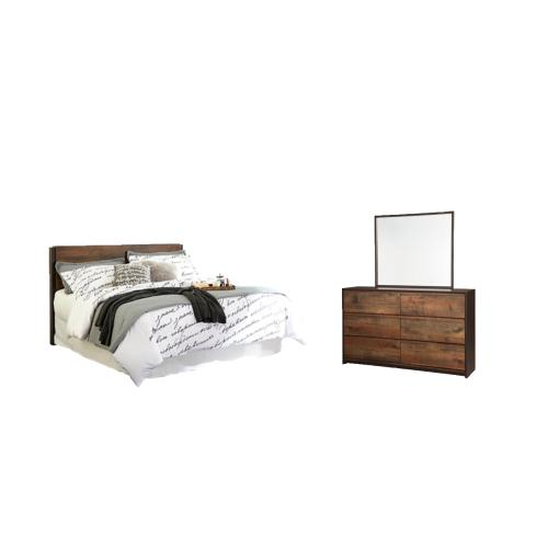 King Panel Headboard With Mirrored Dresser