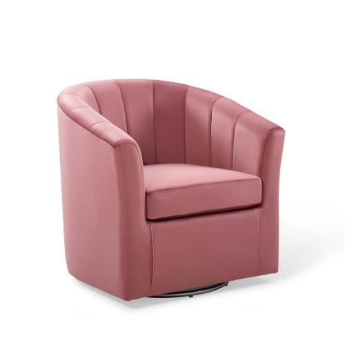 Prospect Performance Velvet Swivel Armchair in Dusty Rose