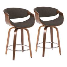 Curvini 24'' Counter Stool - Set Of 2 - Walnut Wood, Charcoal Fabric, Chrome