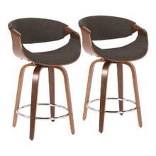 See Details - Curvini 24'' Counter Stool - Set Of 2 - Walnut Wood, Charcoal Fabric, Chrome