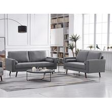 See Details - 8113 2PC LIGHT GRAY Linen Stationary Living Room SET