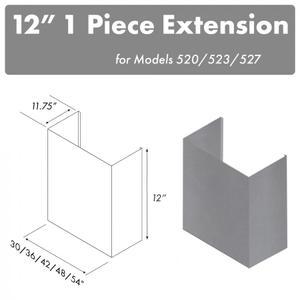 "Zline KitchenZLINE 12"" Chimney for 42"" Under Cabinet Hoods (520/523/527-42-1FTEXT)"