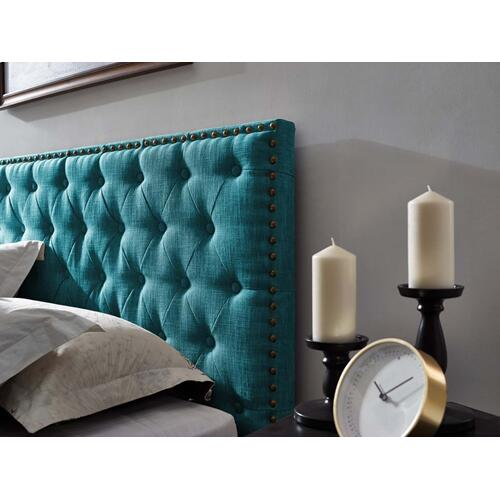 Helena Tufted Twin Upholstered Linen Fabric Headboard in Teal