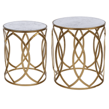 Gold with Antique Mirror Top Side Table (2 pc. set)