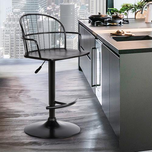 Edward Adjustable Black Wood and Metal Barstool
