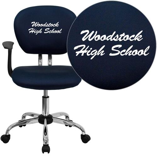 Embroidered Mid-Back Navy Mesh Swivel Task Chair with Chrome Base and Arms