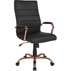 Gallery - High Back Black LeatherSoft Executive Swivel Office Chair with Rose Gold Frame and Arms
