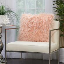 "Faux Fur Bj101 Rose 20"" X 20"" Throw Pillow"
