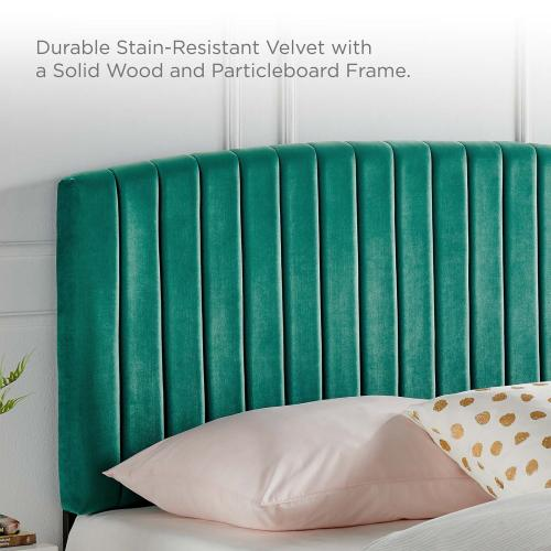 Rebecca Performance Velvet Full / Queen Headboard in Teal