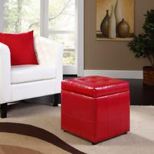 Volt Storage Upholstered Vinyl Ottoman in Red