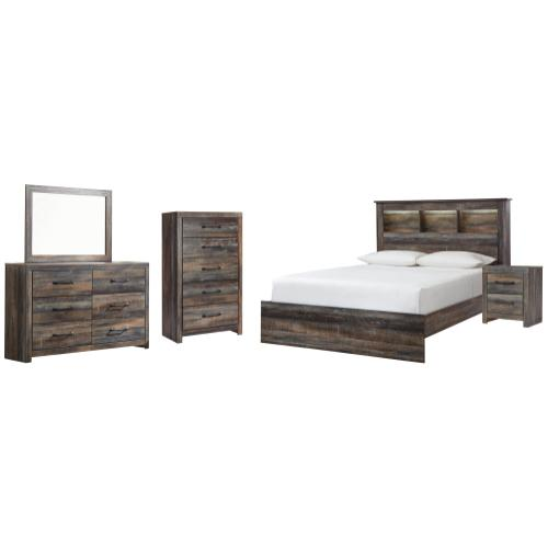Product Image - Queen Bookcase Bed With Mirrored Dresser, Chest and Nightstand