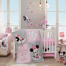 Disney Baby Minnie Mouse Pink/Gray 4-Piece Crib Bumper