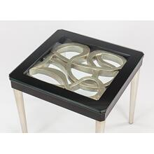 End Table with Glass 26.5x25.5x23.5""