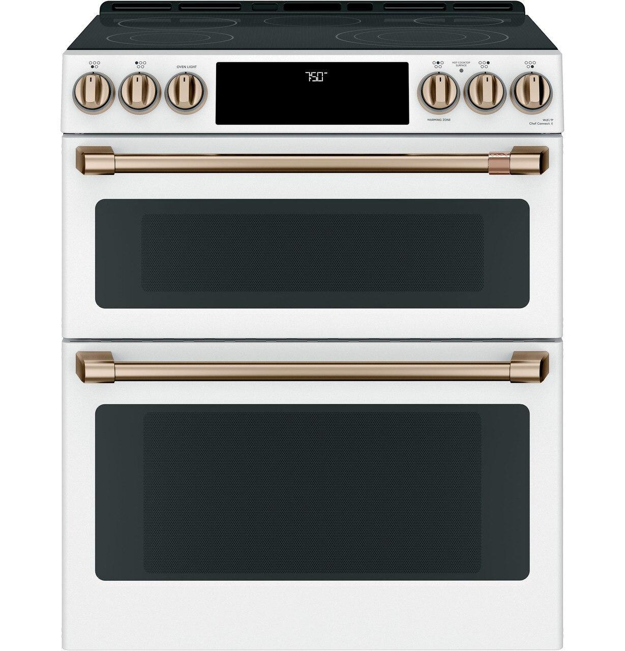 "Cafe AppliancesCafé™ 30"" Smart Slide-In, Front-Control, Radiant And Convection Double-Oven Range"