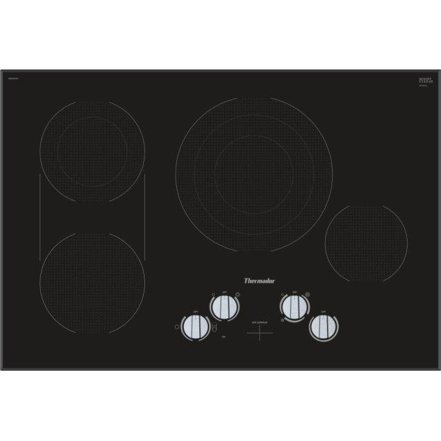 Thermador 30-Inch Masterpiece® Knob Control Electric Cooktop, Black, Frameless