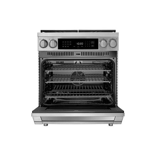 "30"" Dual Fuel Pro Range, Silver Stainless Steel, Natural Gas"