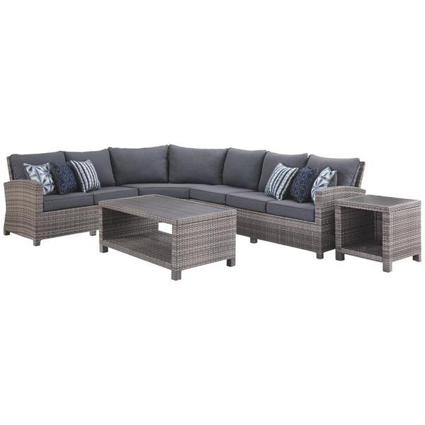 See Details - 3-piece Outdoor Sectional With Chair, Coffee Table and End Table