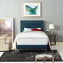 Virginia Twin Fabric Platform Bed with Round Splayed Legs in Azure
