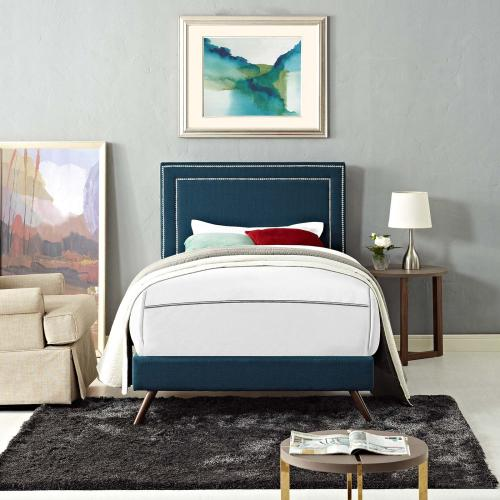 Modway - Virginia Twin Fabric Platform Bed with Round Splayed Legs in Azure