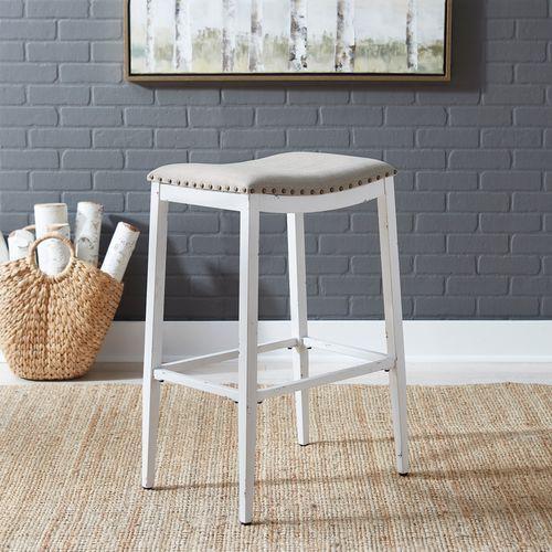 Backless Uph Barstool- Antique White