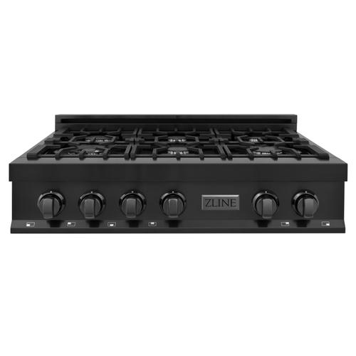 """Zline Kitchen and Bath - ZLINE 36"""" Porcelain Gas Stovetop in Black Stainless Steel with 6 Gas Burners (RTB-36)"""