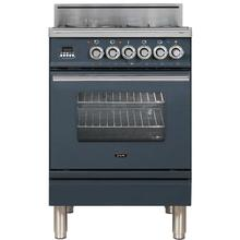 Professional Plus 24 Inch Gas Natural Gas Freestanding Range in Blue Grey with Chrome Trim