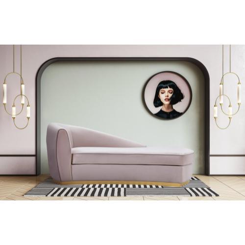 Adele Blush Velvet Chaise