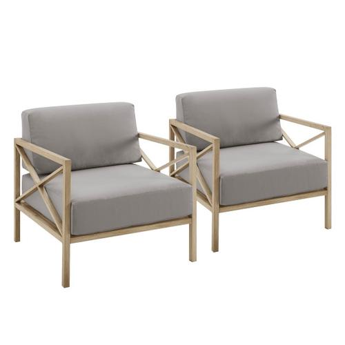 Gray 2pc X Design Metal Chairs (Component 2 or 3)