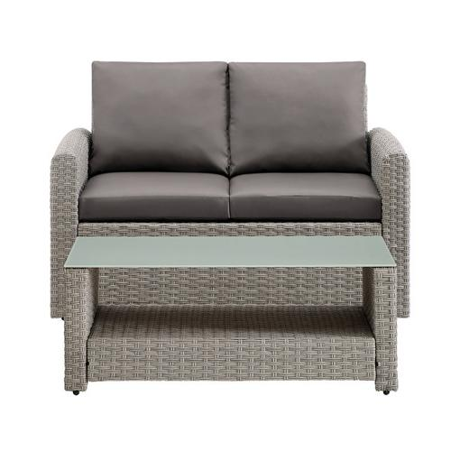 Wicker-Look Upholstered Outdoor Loveseat and Table Set in Cygnet Gray