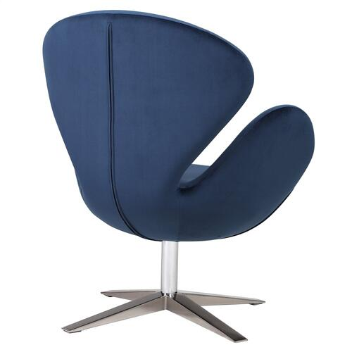 Product Image - Beckett Fabric Swivel Accent Chair Chrome Legs, Midnight Blue