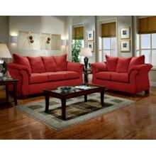 Sensations Red Microfiber Pillow Back Sofa and Loveseat Set Made In USA