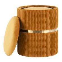 See Details - Cinch Nesting Ottoman Set - Gold Steel, Orange Velvet