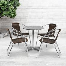 See Details - 23.5'' Round Aluminum Indoor-Outdoor Table Set with 4 Dark Brown Rattan Chairs