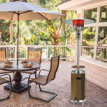 Hanover 7-Ft. 48,000 BTU Steel Umbrella Propane Patio Heater in Bronze and Stainless Steel with Weather-Protective Cover, H002BRSS-CV
