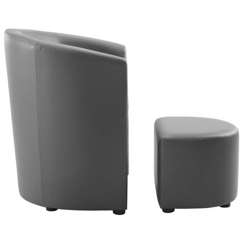 Modway - Divulge Armchair and Ottoman in Gray