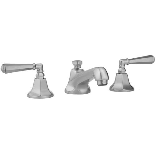 Jaclo - Satin Gold - Astor Faucet with Hex Lever Handles & Fully Polished & Plated Pop-Up Drain