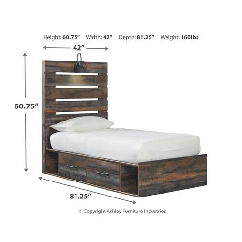 Drystan Twin Panel Bed With 2 Storage Drawers
