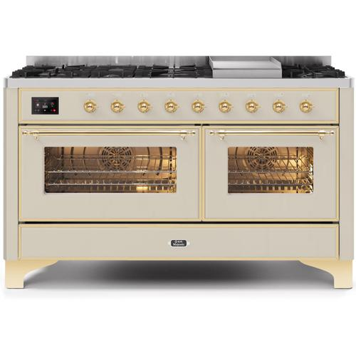 Ilve - Majestic II 60 Inch Dual Fuel Natural Gas Freestanding Range in Antique White with Brass Trim