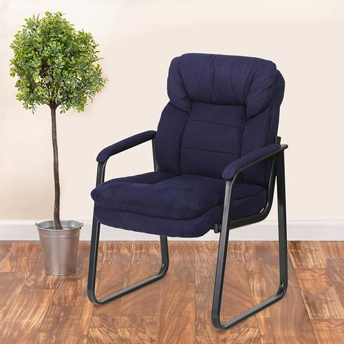 Gallery - Navy Microfiber Executive Side Reception Chair with Lumbar Support and Sled Base