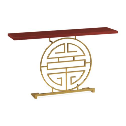 Gilded Oriental Medallion Emperor Red Console Table