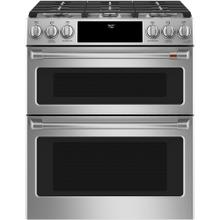 """View Product - Café ™ 30"""" Slide-In Front Control Gas Double Oven with Convection Range Stainless Steel"""