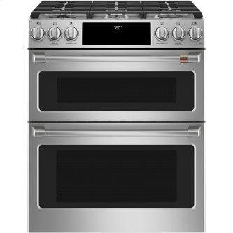 """Café ™ 30"""" Slide-In Front Control Gas Double Oven with Convection Range Stainless Steel"""