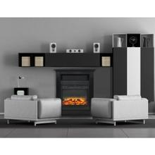 Cambridge Sienna 34 In. Electric Fireplace w/ Enhanced Log Display and Black Coffee Mantel, CAM3437-1COFLG2