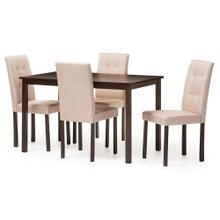 See Details - Baxton Studio Andrew Modern and Contemporary 5-Piece Beige Fabric Upholstered Grid-tufting Dining Set