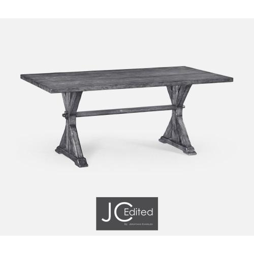 Medium solid antique dark grey topped dining table