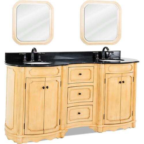 "74-1/4"" elliptical vanity with antique crackled Buttercream finish, reed columns, and simple carvings all topped with preassembled top and bowl."