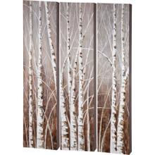 See Details - Evening Dusk 48x71 Tripych Birch Treescape Original Hand Painted on Wood Oil Painting
